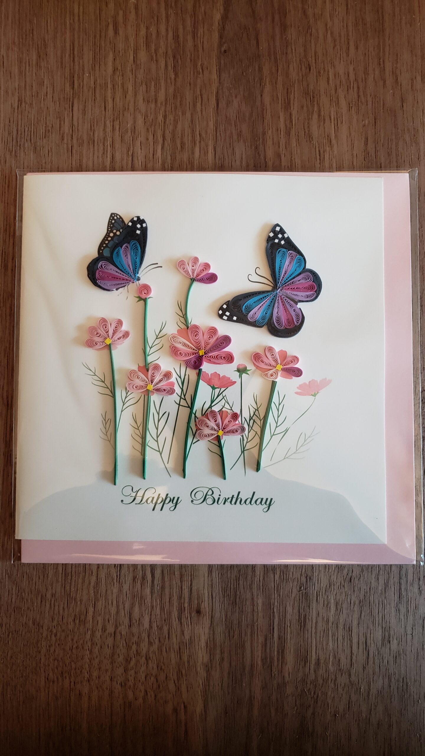 Birthday Flowers & Butterflies Card 6 in. x 6 in.