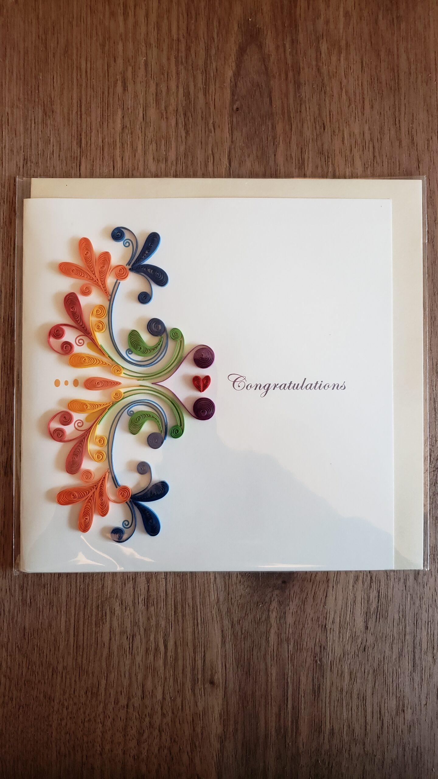 Rainbow Swirl Congratulations Card 6 in. x 6 in.