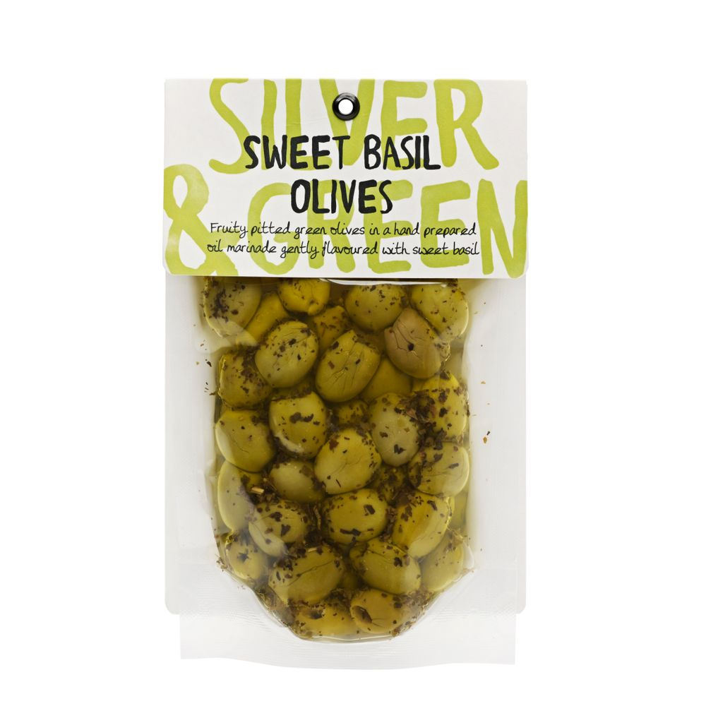 Silver & Green Sweet Basil Green Olives (Pitted)